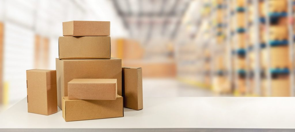 cardboard boxes in warehouse ready for transportation and delivery